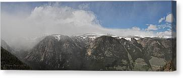 June Snow Squall Coming Down The Valley Canvas Print