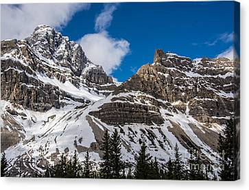 June Sun On Snow-capped Canadian Rockies Canvas Print