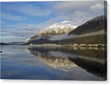 Juneau In Winter Canvas Print by Cathy Mahnke