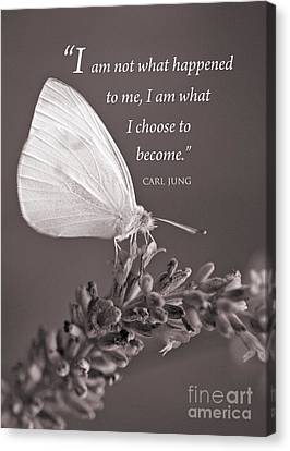 Jung Quotation And Butterfly Canvas Print by Chris Scroggins