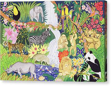 Jungle Animals Wc Canvas Print