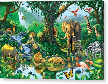 Lions Canvas Print - Jungle Harmony by Chris Heitt