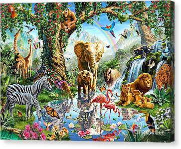 Jungle Animals Canvas Print - Jungle Lake by Adrian Chesterman
