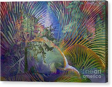 Canvas Print featuring the digital art Jungle Mushrooms by Ursula Freer