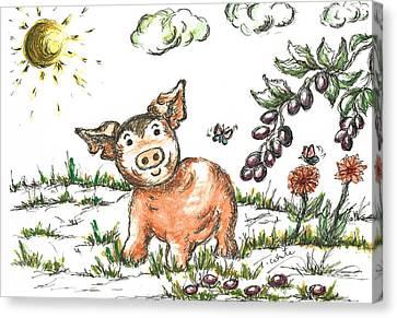 Seem Canvas Print - Junior Pig by Teresa White