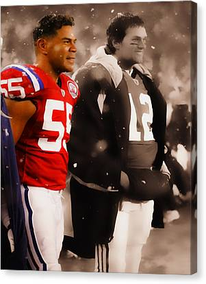 Junior Seau And Tom Brady Canvas Print by Brian Reaves