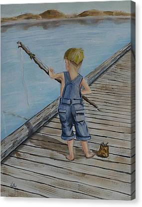 Juniors Amazing Fishing Pole Canvas Print by Kelly Mills