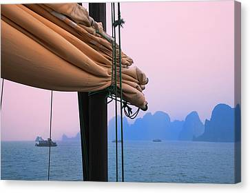 Junk Boats And Karst Islands In Halong Canvas Print by Keren Su