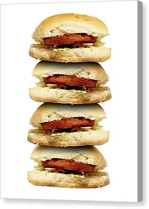 Hamburger Canvas Print - Junk Food by Victor De Schwanberg