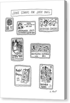 Junk Canvas Print - Junk Stamps For Junk Mail by Roz Chast