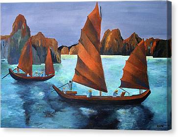 Junks In The Descending Dragon Bay Canvas Print by Tracey Harrington-Simpson