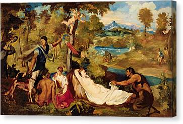 Jupiter And Antiope Canvas Print by Edouard Manet
