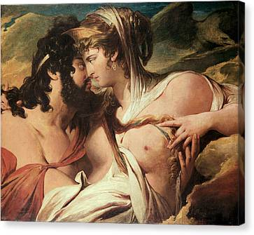 Zeus Canvas Print - Jupiter And Juno On Mount Ida by James Barry
