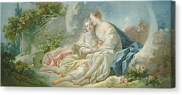 Jupiter Disguised As Diana Tries To Seduce Callisto, C.1753 Oil On Canvas Canvas Print by Jean-Honore Fragonard