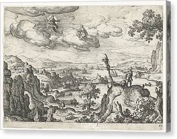 Jupiter In His Car And Another God, Anoniem Hans Bol Canvas Print