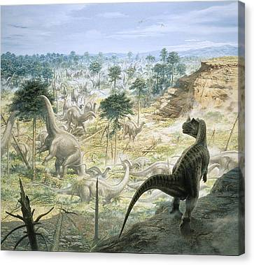 Jurassic Dinosaurs, Artwork Canvas Print by Science Photo Library