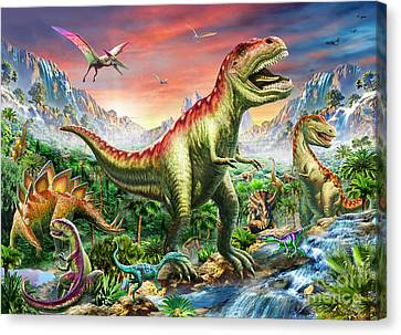 T-rex Canvas Print - Jurassic Forest by Adrian Chesterman