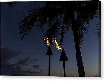 Just After Sunset The Beach Party Is Starting Canvas Print