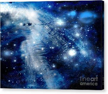 Canvas Print featuring the digital art Just Beyond The Moon by Janice Westerberg