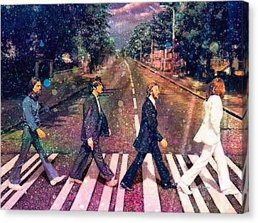 Just Crossing The Street Canvas Print by Angela A Stanton