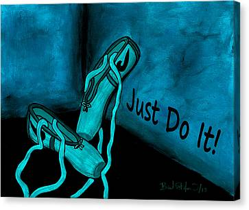 Just Do It - Blue Canvas Print by Barbara St Jean