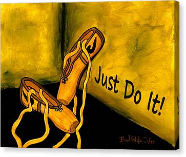 Just Do It - Yellow Canvas Print by Barbara St Jean