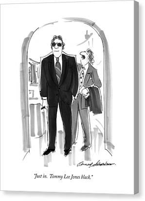 Just In.  Tommy Lee Jones Black Canvas Print by Bernard Schoenbaum