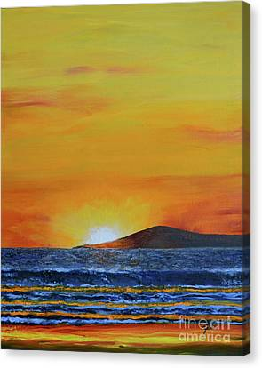 Canvas Print featuring the painting Just Left Maui by Suzette Kallen