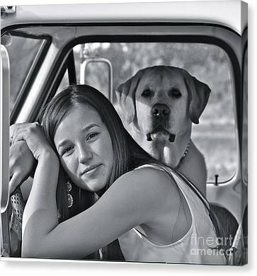 Canvas Print featuring the photograph Just Me And My Dog by Barbara Dudley