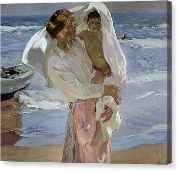 Sandy Beach Canvas Print - Just Out Of The Sea by Joaquin Sorolla y Bastida