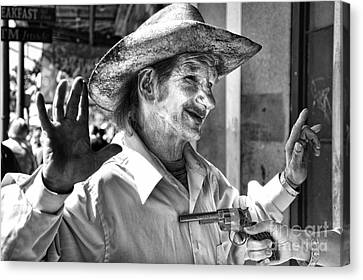 Just Shoot Me Said The Cowboy- Black And White Canvas Print by Kathleen K Parker
