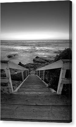 Just Steps To The Sea    Black And White Canvas Print by Peter Tellone