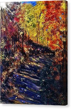 Canvas Print featuring the painting Just The Sound Of The Forest... by Cristina Mihailescu