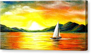 Justa Sailing Canvas Print by Janet Moss