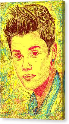 Justin Bieber In Line Canvas Print by Kenal Louis