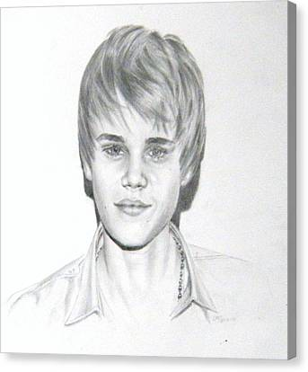 Canvas Print featuring the drawing Justin Bieber by Lori Ippolito