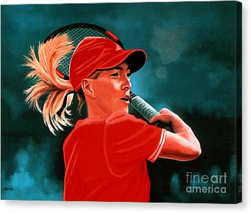 Belgian Tennis Player Canvas Print - Justine Henin  by Paul Meijering