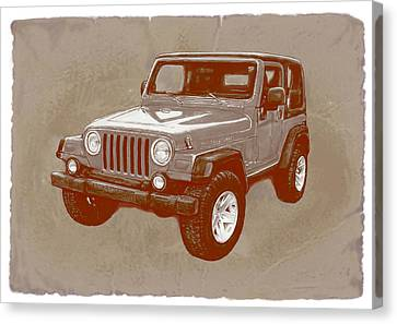 Justjeepn's 2005 Jeep Wrangler Rubicon Car Art Sketch Poster Canvas Print by Kim Wang