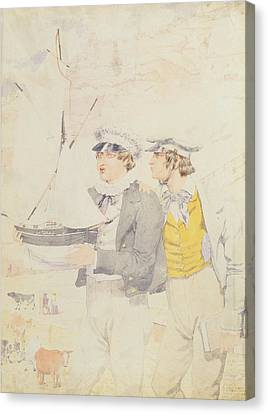 Toy Boat Canvas Print - Juvenile Members Of The Yacht Club, 1853 Wc & Graphite On Paper by Richard Dadd