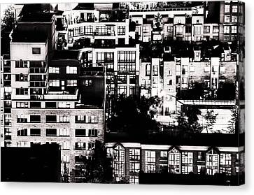 Canvas Print featuring the photograph Black And White - Juxtaposed And Intimate Vancouver View At Night - Fineart Cards by Amyn Nasser
