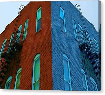 Juxtaposition - Old Building Canvas Print by Denise Beverly