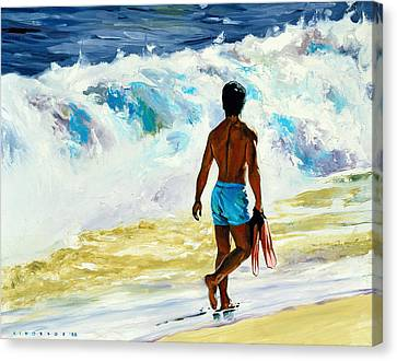 Swimmers Canvas Print - Ka Nalu by Douglas Simonson