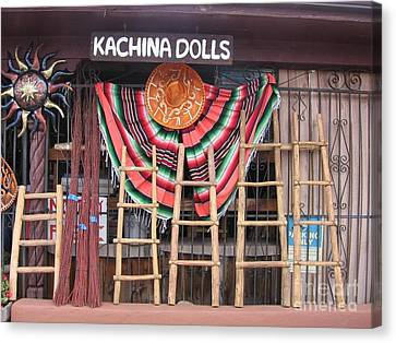 Canvas Print featuring the photograph Kachina Dolls Local Store Front by Dora Sofia Caputo Photographic Art and Design