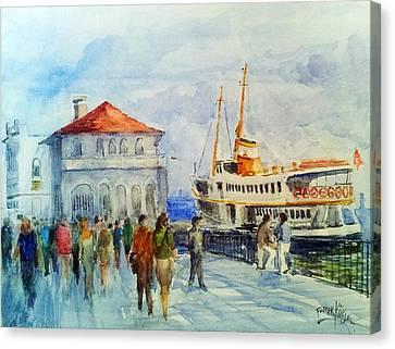 Kadikoy Ferry Arrives Canvas Print