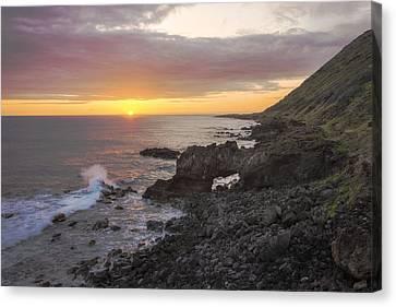 Kaena Point Sea Arch Sunset - Oahu Hawaii Canvas Print by Brian Harig