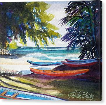 Kailua Beach Canoes Sold Canvas Print by Therese Fowler-Bailey