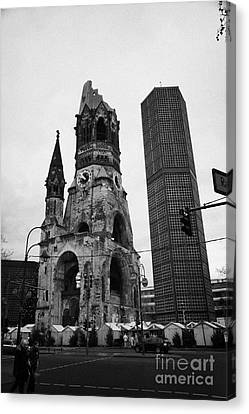 Kaiser Wilhelm Gedachtniskirche Memorial Church New Bell Tower And Christmas Market Berlin Germany Canvas Print by Joe Fox
