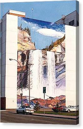 Canvas Print featuring the painting Kakwa Falls Mural  by Tim  Heimdal