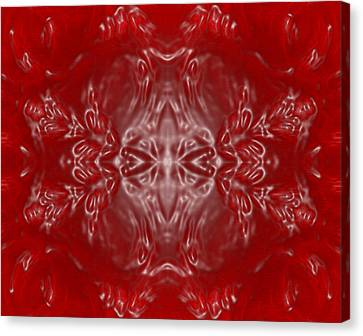 Kaleidoscope In Red And White Canvas Print by Gina Lee Manley