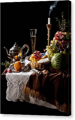 Canvas Print featuring the photograph Kalf - Banquet With Fruits by Levin Rodriguez